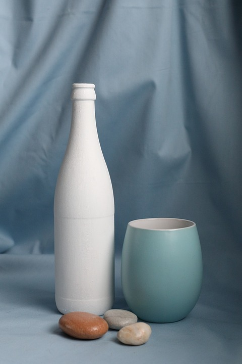 Nature, Bottle, Glass, Frosted, Cup, Stone