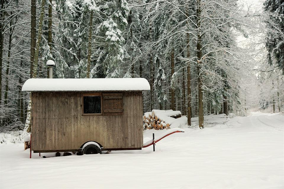 Snow, Winter, Wood, Cold, Frost, Tree, Barrack, Frozen