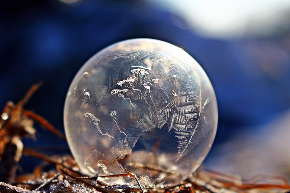 Frozen Bubble, Ice-bag, Ice Crystal, Soap Bubble