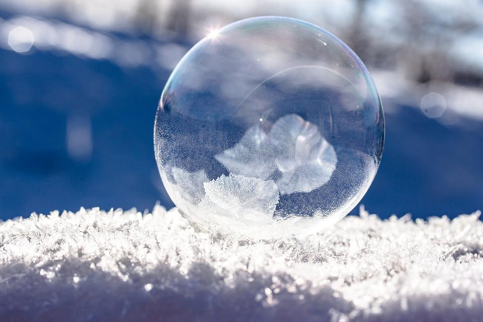 Frozen Bubble, Soap Bubble, Frozen, Winter, Sunbeam