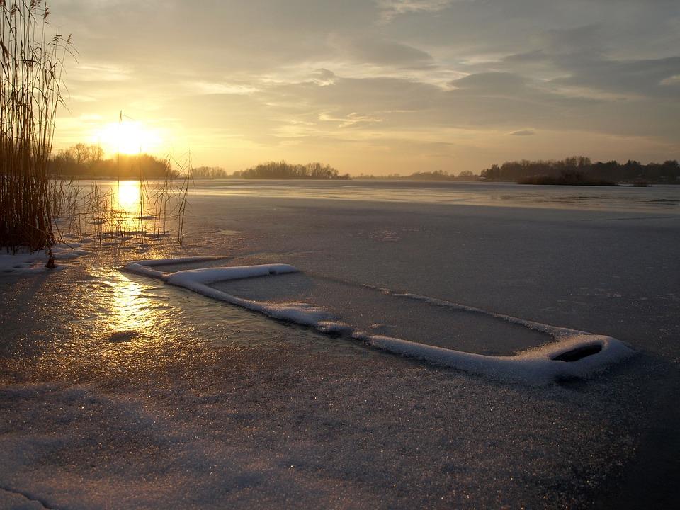 Sunset, Frozen Lake, Frozen Boat, Winter