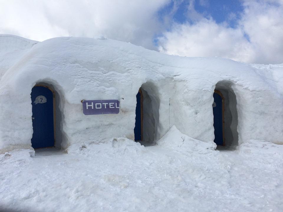 Hotel, Igloo, Ice, Snow, Mountains, Winter, Frozen