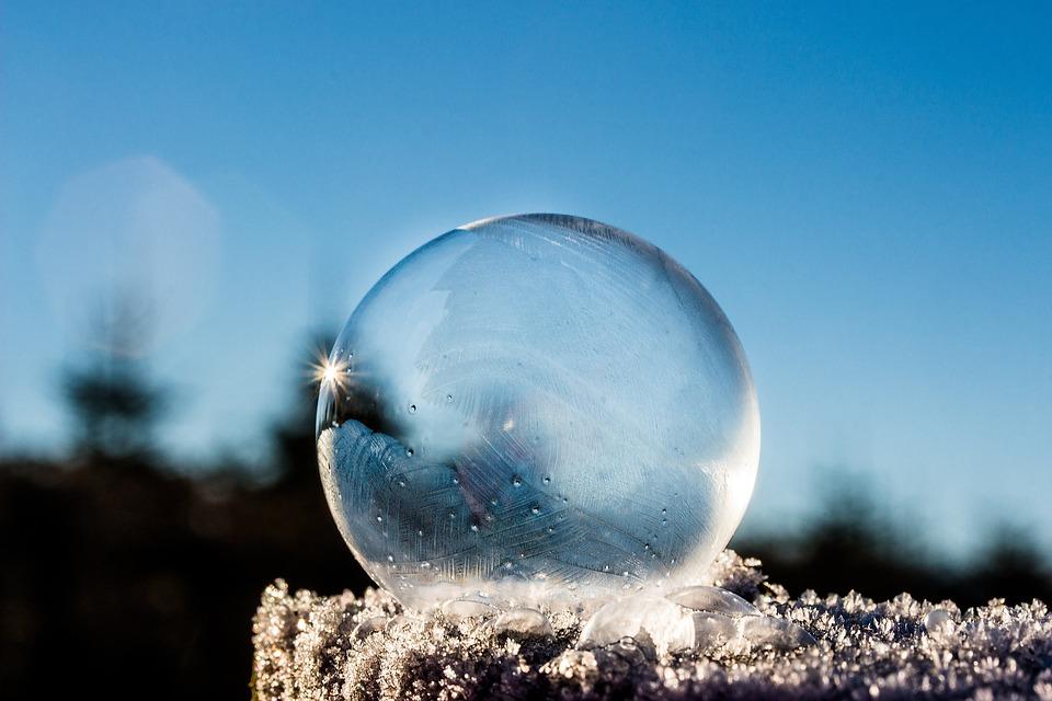 Frozen Bubble, Soap Bubble, Frozen, Winter, Sunbeam