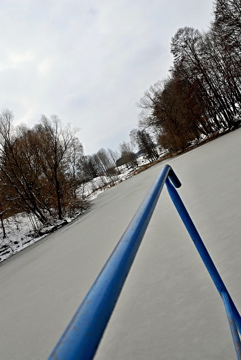 Winter, Pond, Snow, Frozen Surface, Sky, Gray, Water