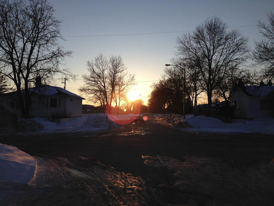 Sunset, Street, Snow, City, Winnipeg, Frozen
