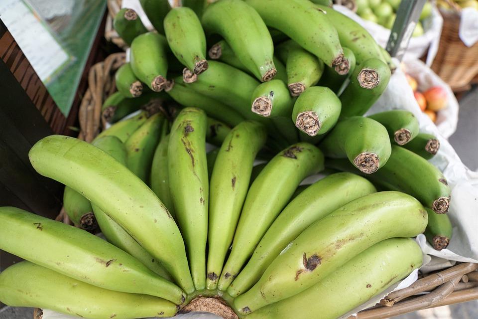 Bananas, Green, Eat, Healthy, Vitamins, Fruit