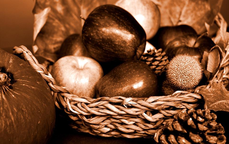 Autumn, Fall, Fruit Basket, Basket, Fruit, Apples
