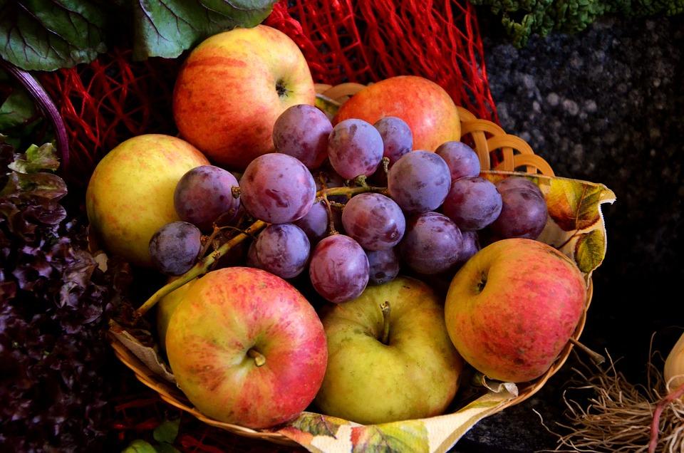 Fruit, Fruit Basket, Grapes, Apple, Red Grapes, Frisch
