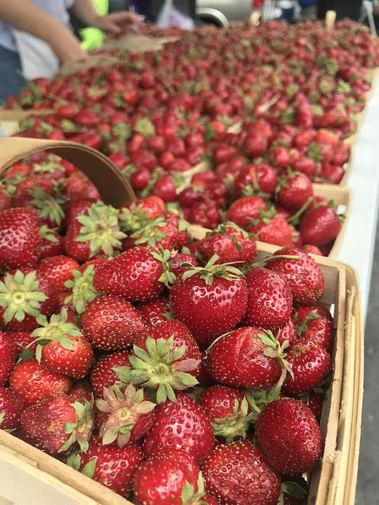 Farmers Market, Strawberry, Strawberries, Basket, Fruit