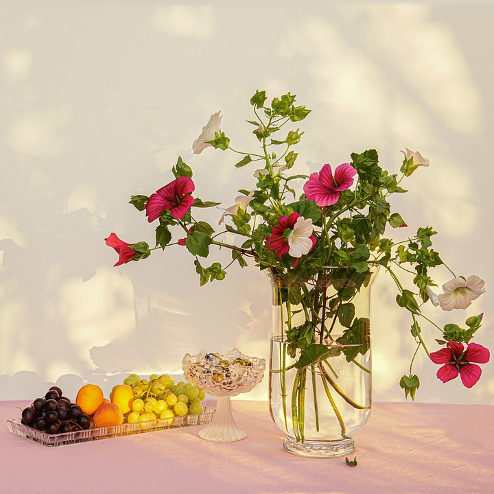 Still Mallow Life, Bouquet, Flower Vine, Fruit Bowl