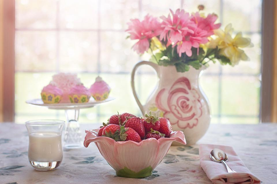 Strawberries In Bowl, Summer, Fruit, Breakfast, Cream