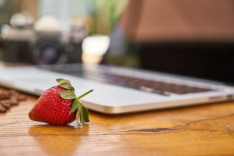 Strawberry, Laptop, Table, Fruit, Food, Design, Art