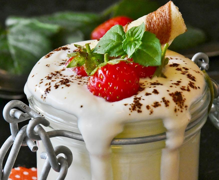 Yogurt, Strawberries, Milk Product, Fruit, Dessert
