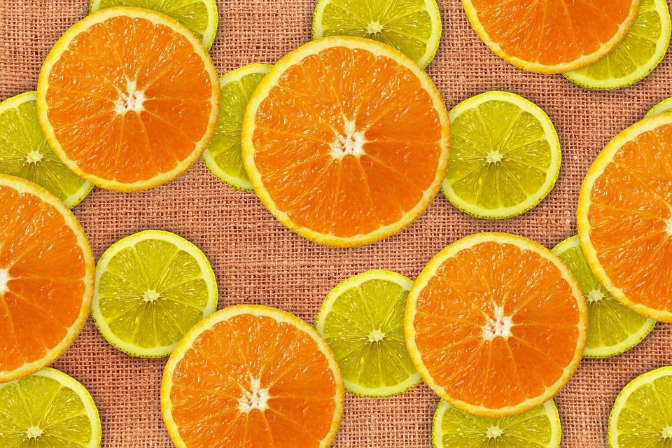 Oranges, Lemons, Discs, Fruit, Burlap, Texture, Pattern
