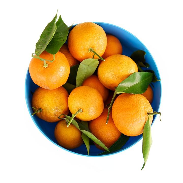 Blue, Bucket, Container, Orange, Fruit, Healthy, Food