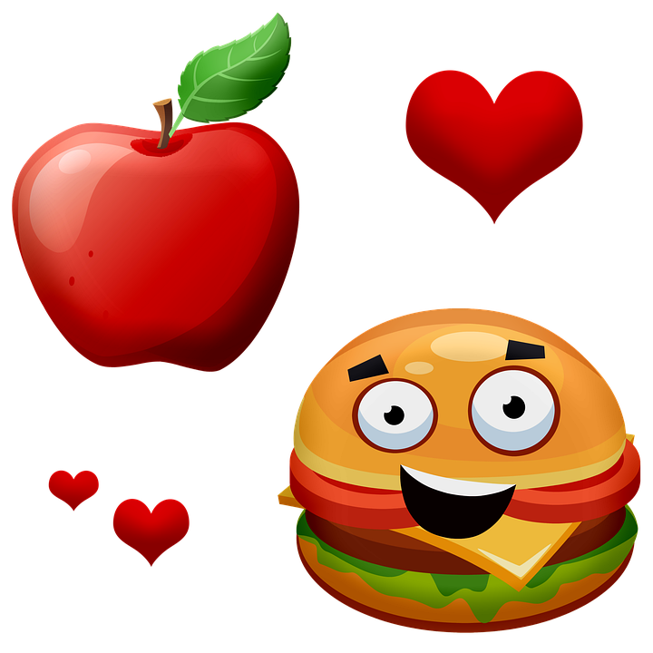 Apple, Fruit, Leave, Heart, Burguer, Hamburguer, Food