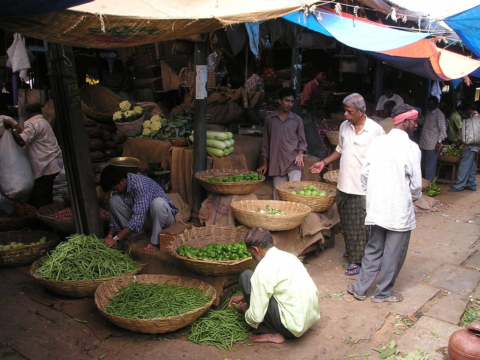 India, Market, Vegetables, Fruit