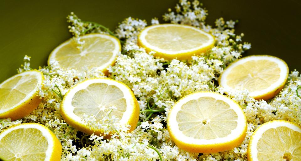 Flowers, Lemons, Juicy, Sliced, Fruit, Elderflower