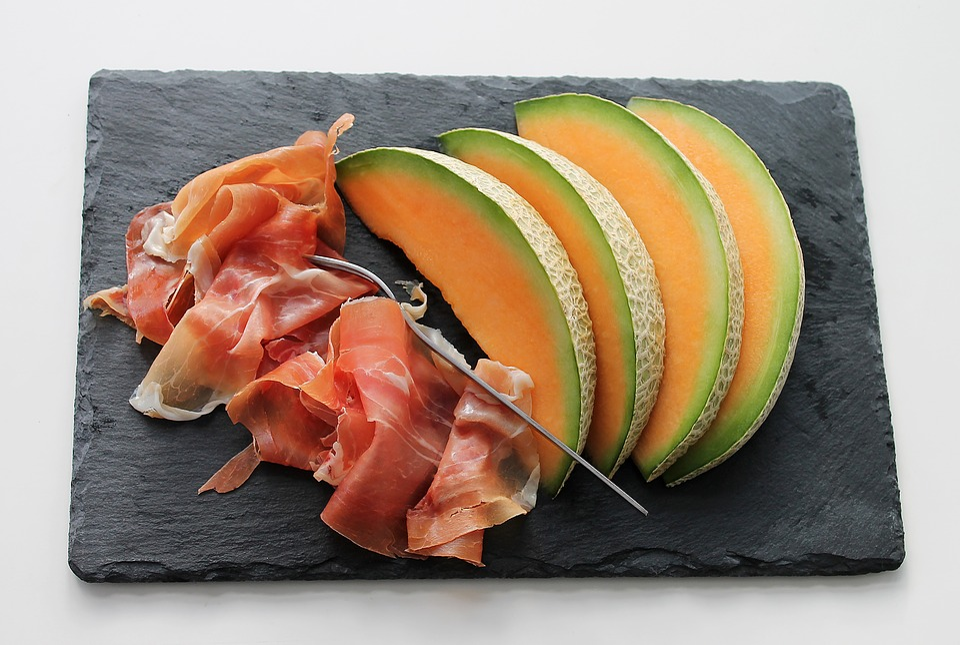 Melon, Ham, Fruit, Meat, Food