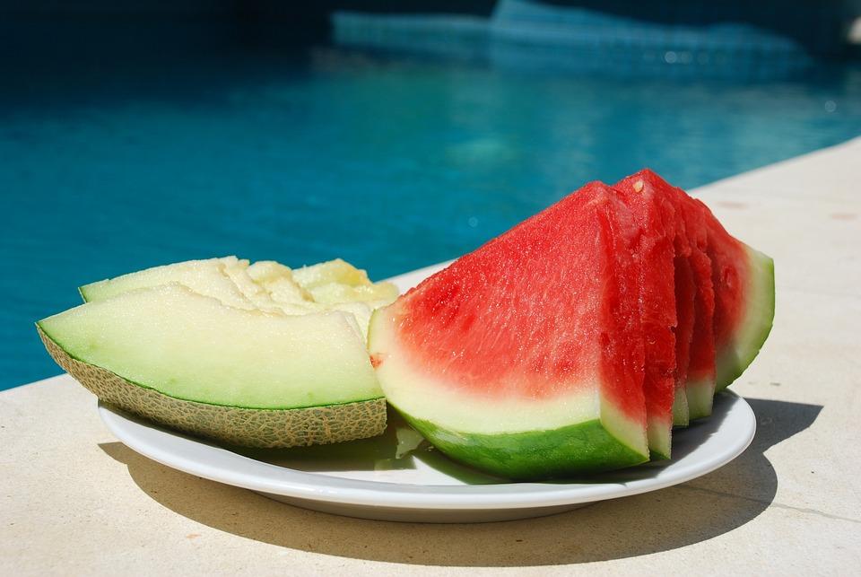 Watermelon, Melon, Fruit, Pool, Plate