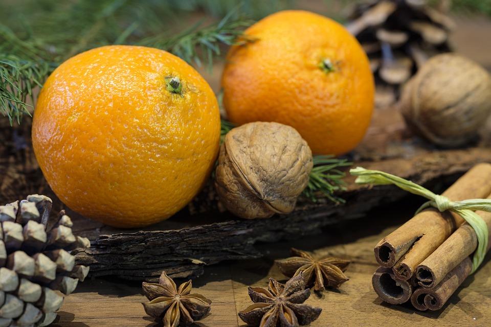 Orange, Fruit, Nut, Walnut, Pine Cones, Spices