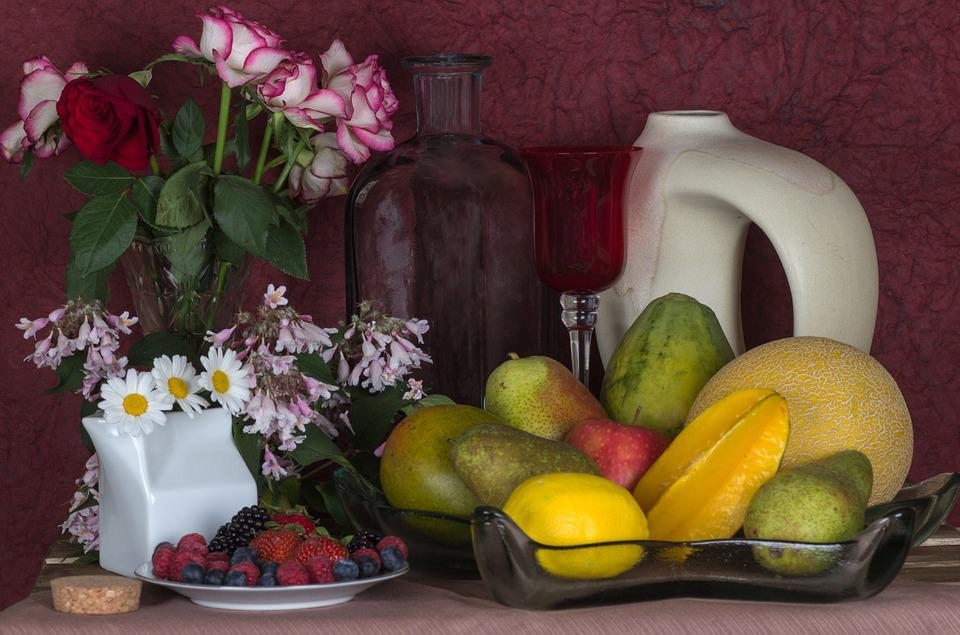 Still Life, Flowers, Roses, Fruit, Apple, Melon