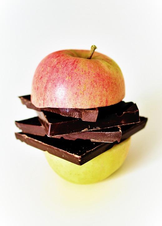 Apple, Sliced, Apple Halves, Chocolate, Fruit, Food
