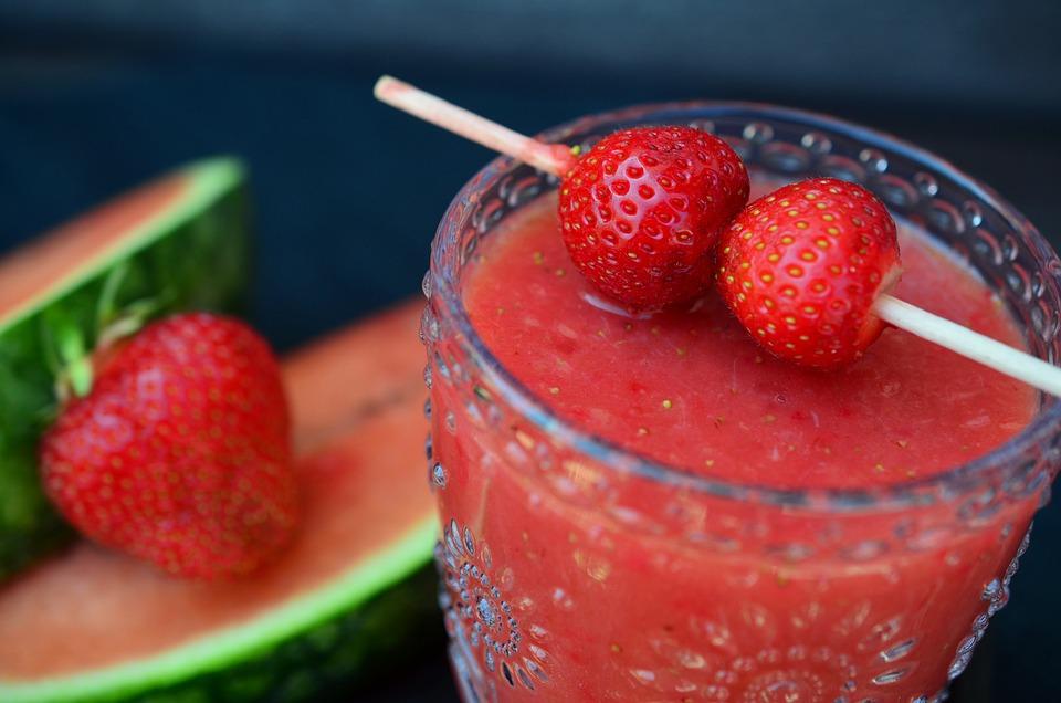 Smoothie, Watermelon, Strawberries, Fruit, Healthy