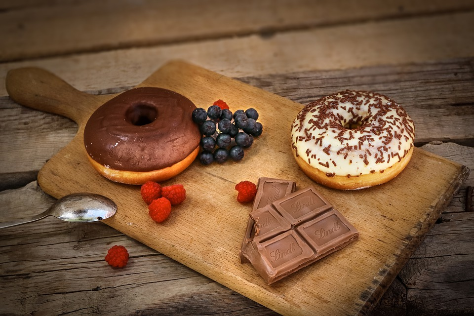 Chocolate, Donuts, Sugar, Cream, Fruit, Wood, Brown