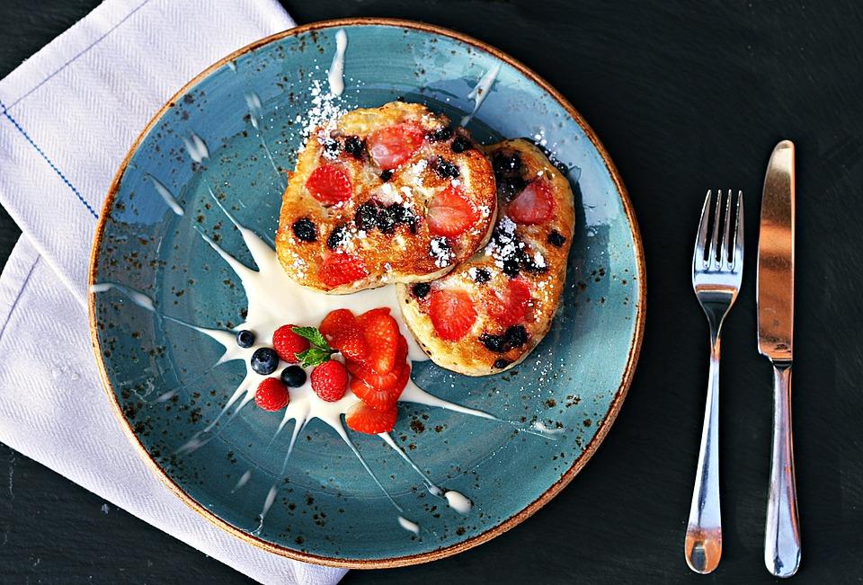 Strawberry, Fruit, Dessert, Pancake, Blueberry, Sweets