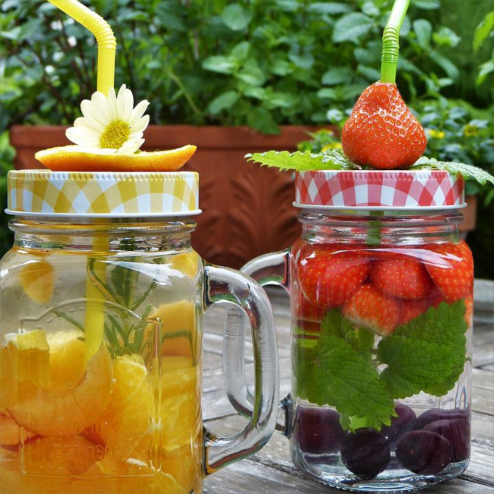 Glasses, Water, Fruit, Fruits Water, Drink, Colorful