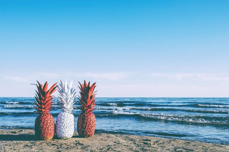 Pineapple, Sunset, Fruit, Beach, Red, White, Summer