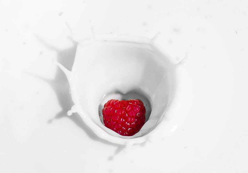 Raspberry, Yogurt, Milk, Fruit, Breakfast, Healthy