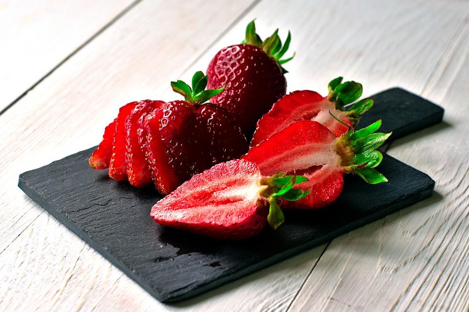 Strawberries, Slate, Eat, Delicious, Fruits, Berries