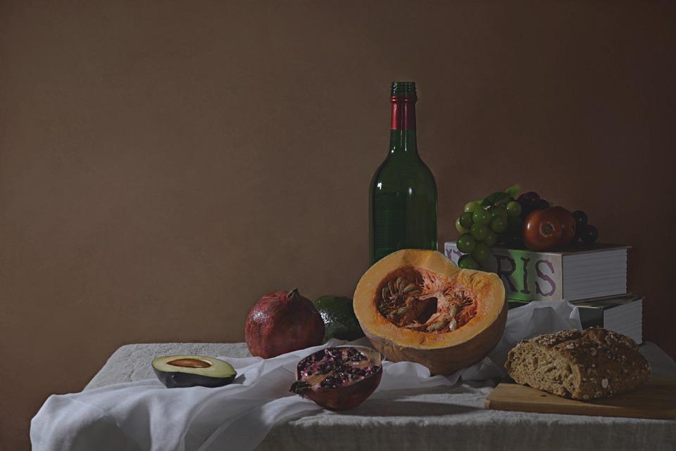 Still Life, Foods, Arts, Books, Fruits, Table Wine