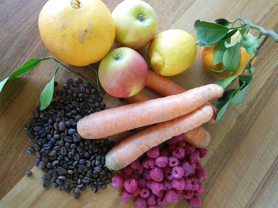 Apple, Carrots, Coffee, Vegetables, Fruits
