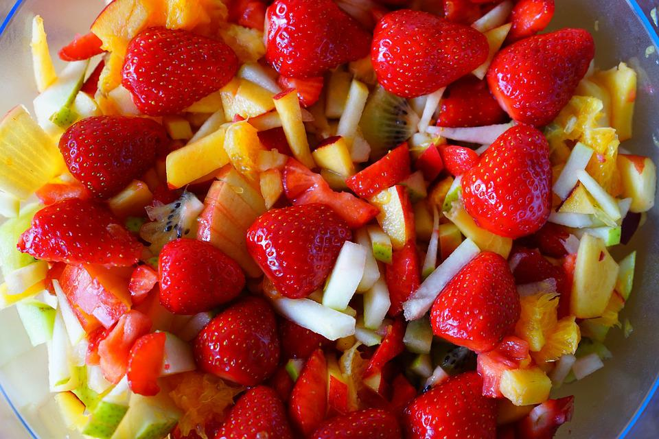 Fruit Salad, Fruits, Strawberries, Apple, Nectarine