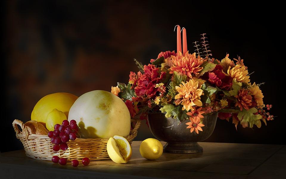Fruits, Flowers, Candle, Lemon, Grape, Honeydew