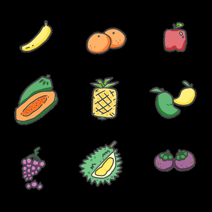 Fruits, Banana, Orange, Apple, Papaya, Pineapple, Mango