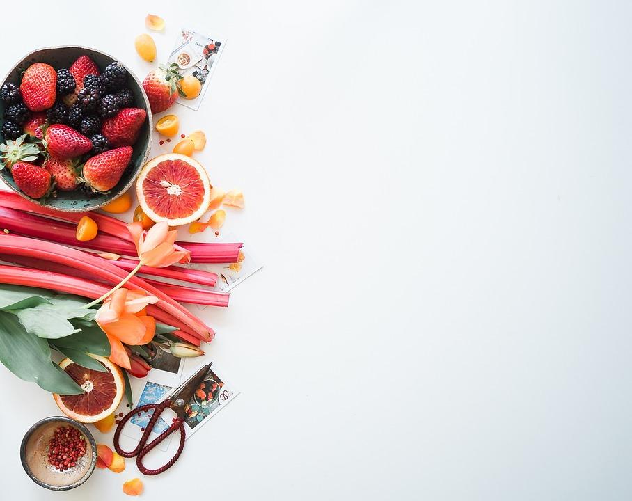 Flat Lay, Food, Dessert, Fruits, Orange, Strawberry