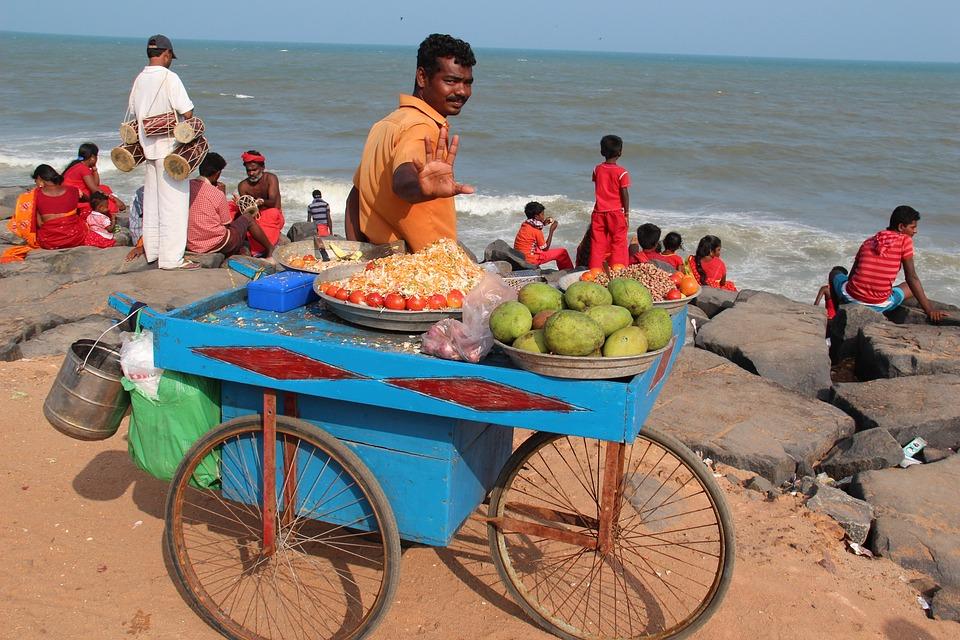 India, Indians, Seller, Beach, Sea, Fruits Plants