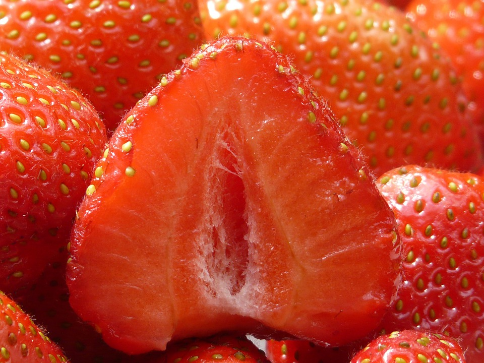 Strawberries, Cut In Half, Fruity, Red, Fruits, Sweet