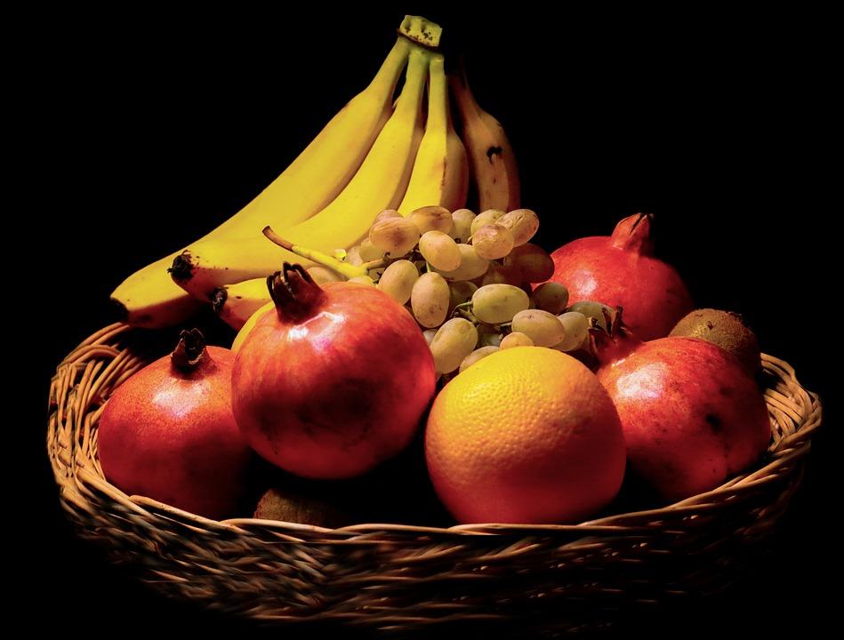Fruits, Tray Basket, Still Life, Banana, Apple, Orange