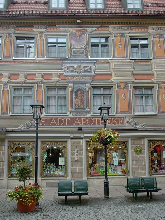 Füssen, City Pharmacy, Imposing, Facade