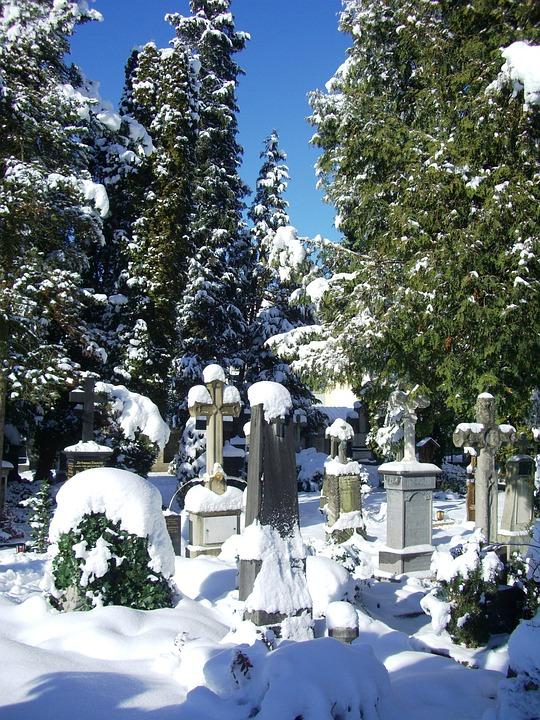 Grave Stones, Snow Caps, Old Cemetery, Füssen, Sky Blue