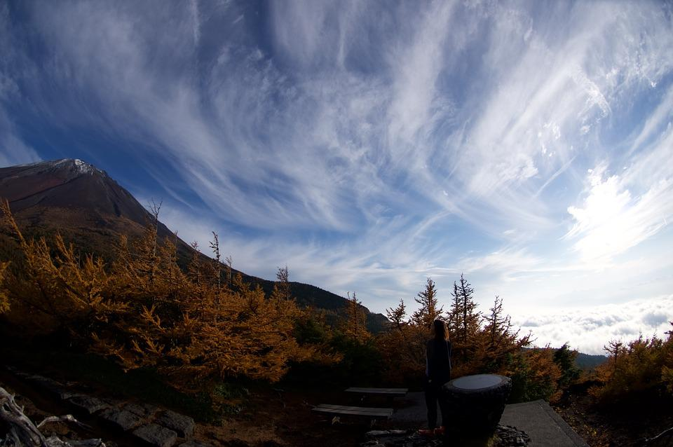 Fuji, Mt Fuji, Blue Sky, Autumnal Leaves, Japan, Sky