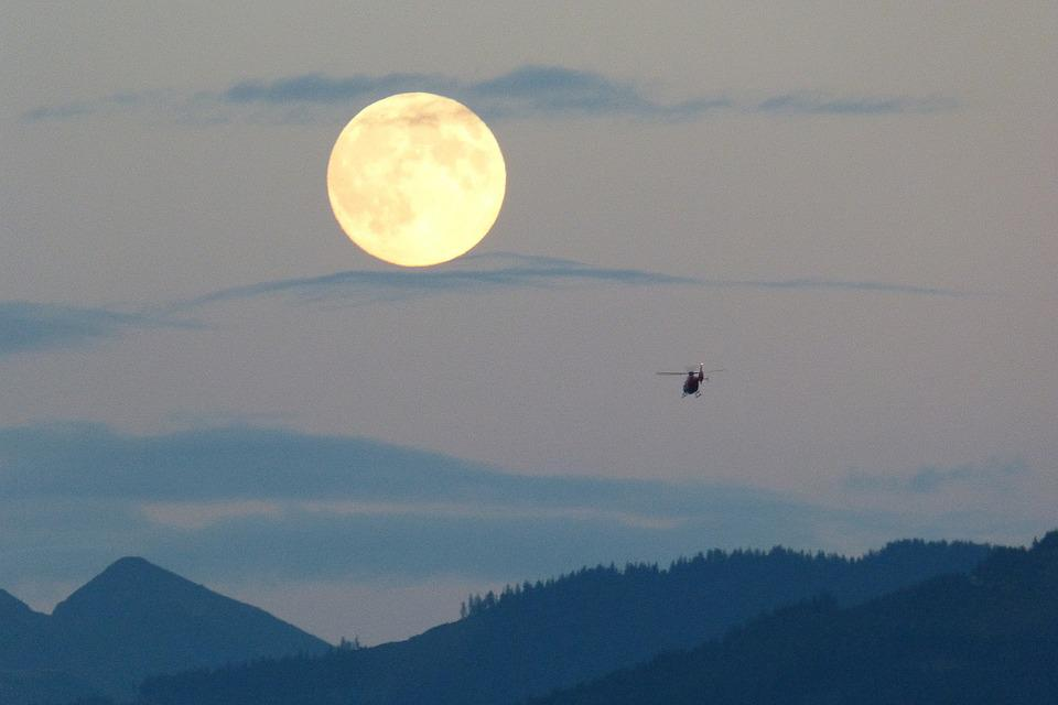 Full Moon, Moon, Super Moon, Huge, Helicopter