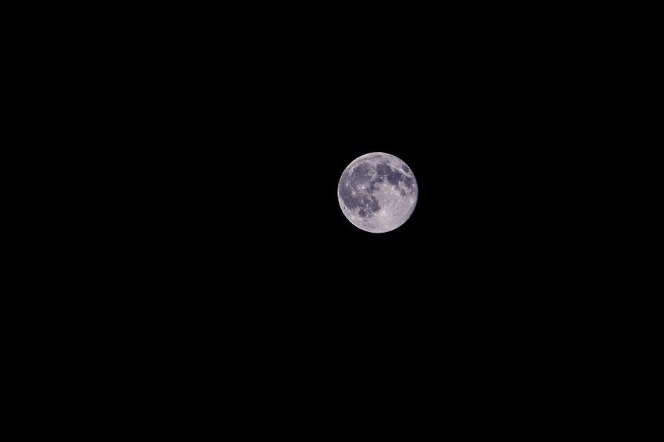Moon, Night, Blue Moon, Full Moon, Crater, Sky