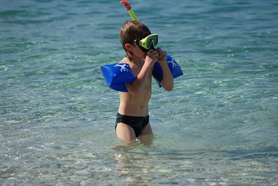 Child, Summer, Diver, Water, Sea, Beach, Unconcern, Fun