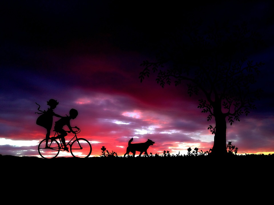 Children, Bike, Cycling, Abendstimmung, Leisure, Fun